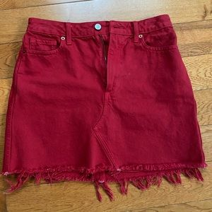 Abercrombie and Fitch denim skirt, red, size 27.
